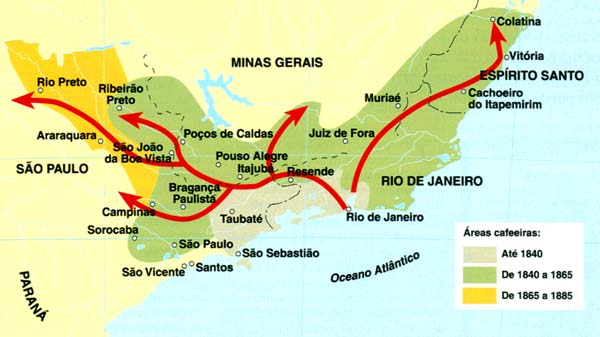 Карта распространения кофе по Бразилии