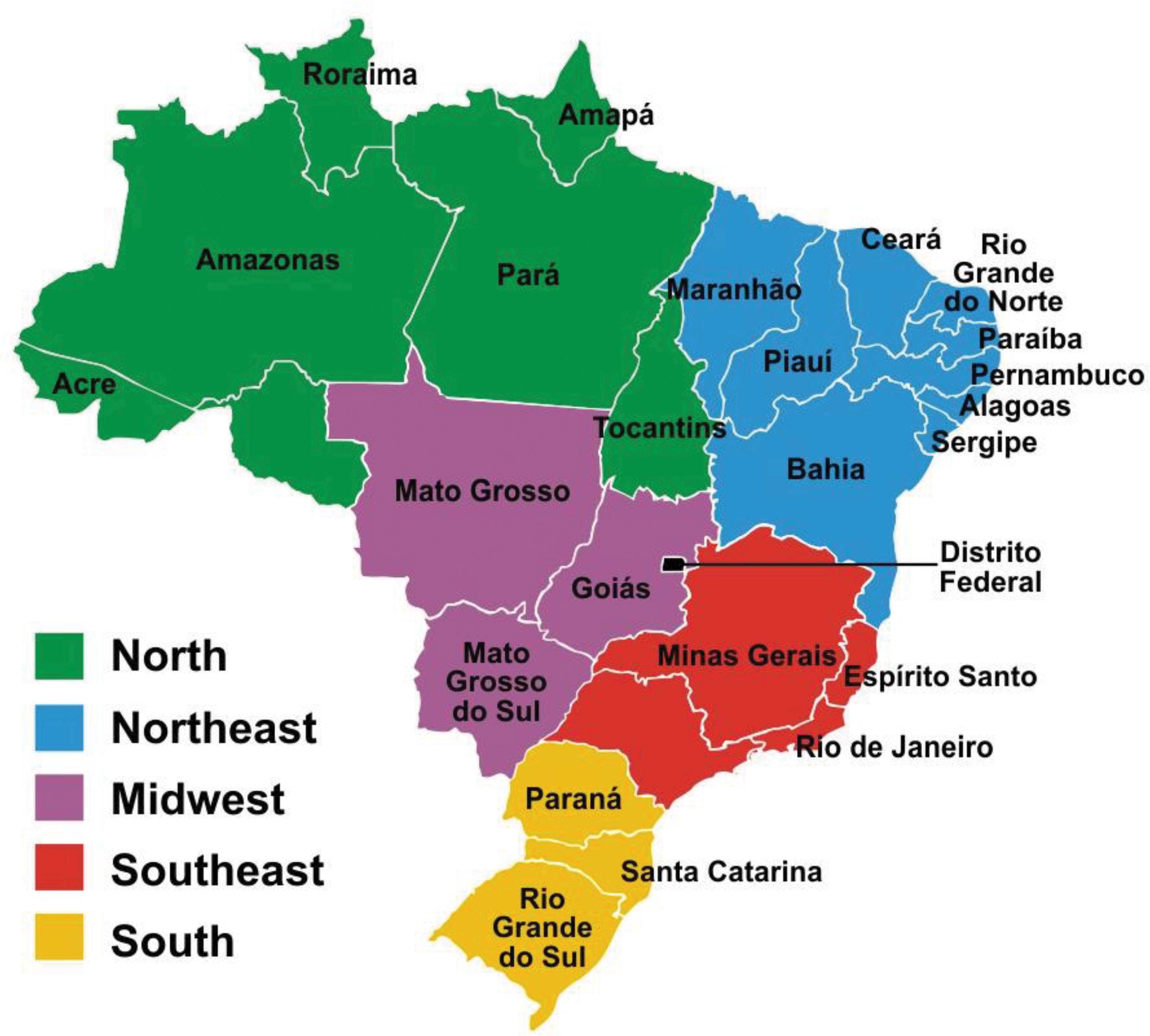 5 регионов Бразилии