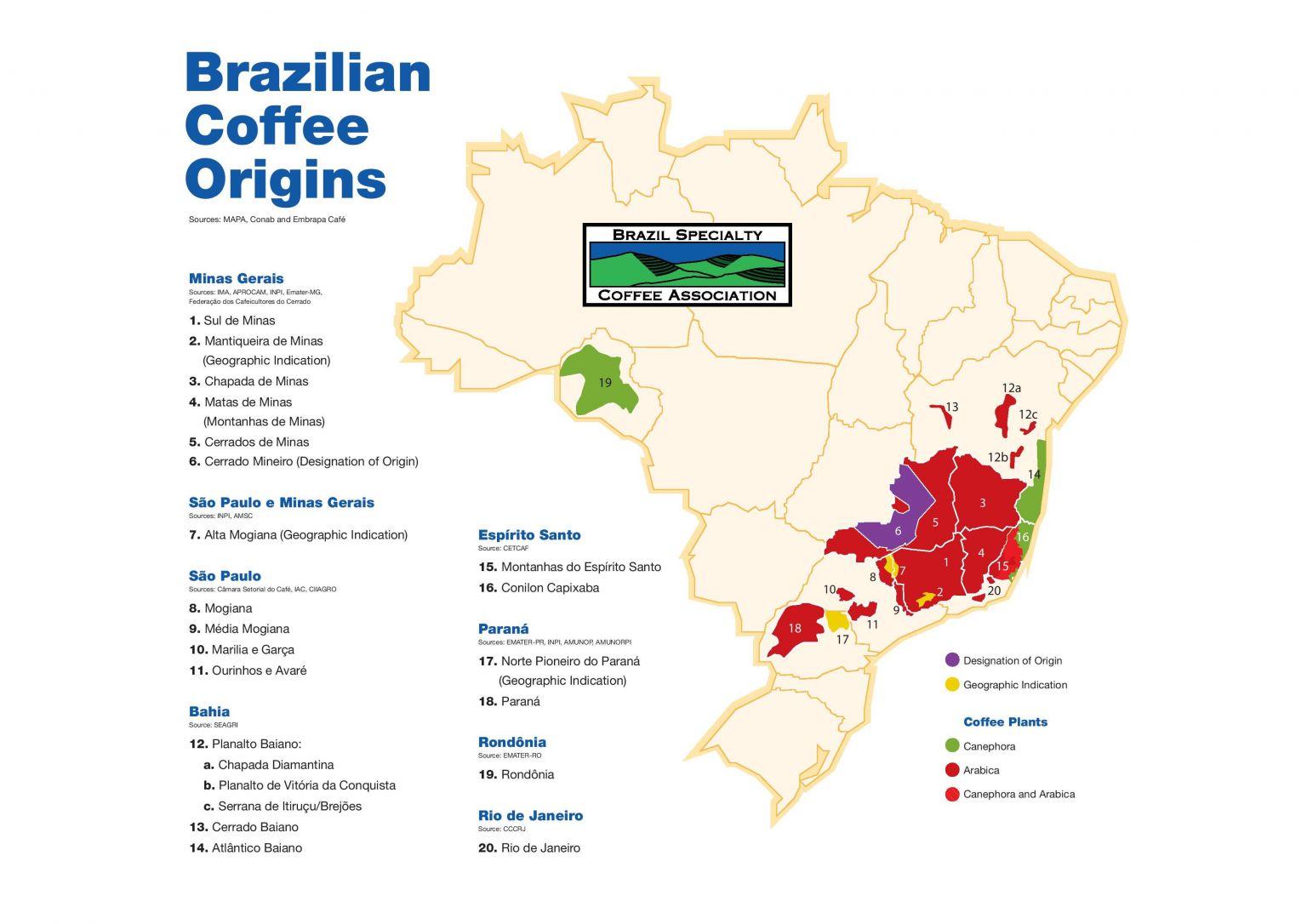 Кофепроизводящие регионы Бразилии