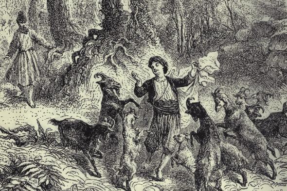 история кофе - легенда о пастухе Калди и его танцующих козах